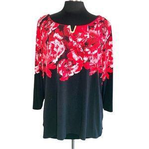 Calvin Klein red/black blouse.  Size 2X.